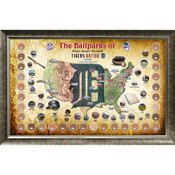 Detroit Tigers Ballpark Map Framed Collage w/Game Used Dirt