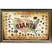 San Francisco Giants Ballpark Map Framed Collage w/Game Used Dir