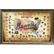 Atlanta Braves Ballpark Map Framed Collage w/Game Used Dirt