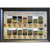 American League Ballparks Framed 20x32 Collage w/Infield Dirt