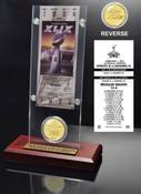 Super Bowl XLIX Champions Ticket & Bronze Coin Acrylic Desk Top