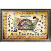Colorado Rockies Ballpark Map Framed Collage w/Game Used Dirt