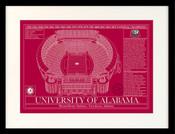 Alabama Crimson Tide - Bryant Denny Stadium School Colors Blueprint Art