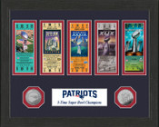 New England Patriots 5-Time Super Bowl Champions Ticket Collection