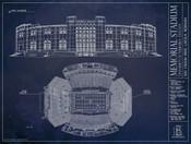 Nebraska Cornhuskers - Memorial Stadium Blueprint Poster