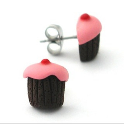 pink cherry chocolate cupcake studs by inedible jewelry