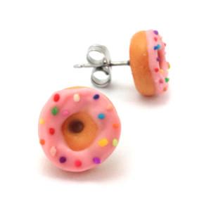 pink sprinkle donut studs