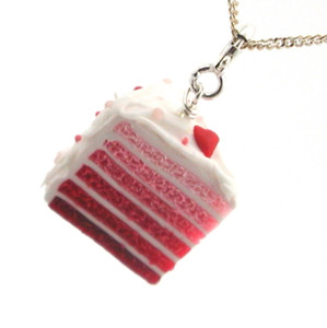 heart cake slice necklace by inedible jewelry