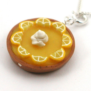 lemon chiffon pie necklace by inedible jewelry
