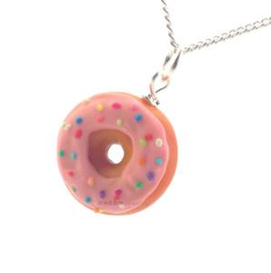pink sprinkle donut necklace