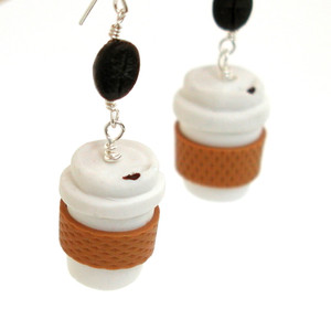 take out coffee earrings by inedible jewelry