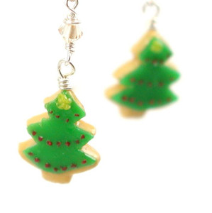 Christmas tree cookie earrings by inedible jewelry