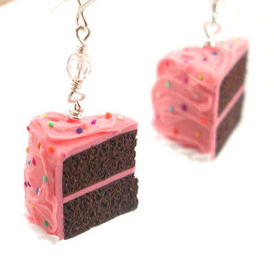 pink birthday chocolate cake slice earrings by inedible jewelry