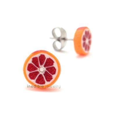 blood orange studs by inedible jewelry