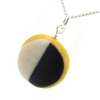 black and white cookie necklace by inedible jewelry