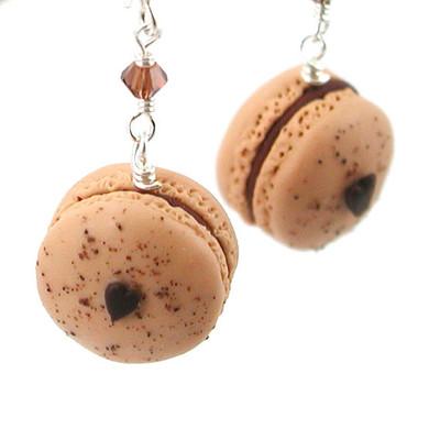 mocha macaron earrings by inedible jewelry