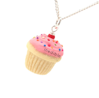 pink birthday vanilla cupcake necklace by inedible jewelry