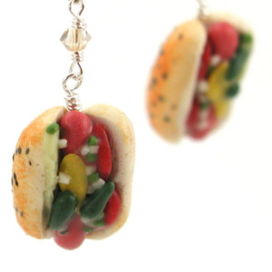 Chicago style hot dog earrings by inedible jewelry