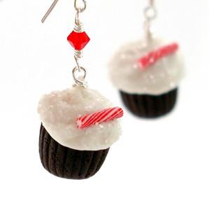 peppermint cupcake earrings by inedible jewelry