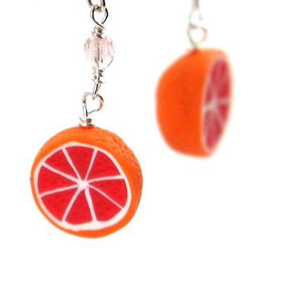 grapefruit earrings by inedible jewelry