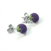 eggplant studs by inedible jewelry