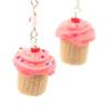 pink birthday vanilla cupcake earrings by inedible jewelry