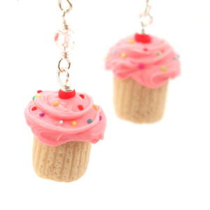 pink birthday vanilla cupcake earrings by inedible jewelry