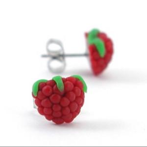 raspberry studs by inedible jewelry