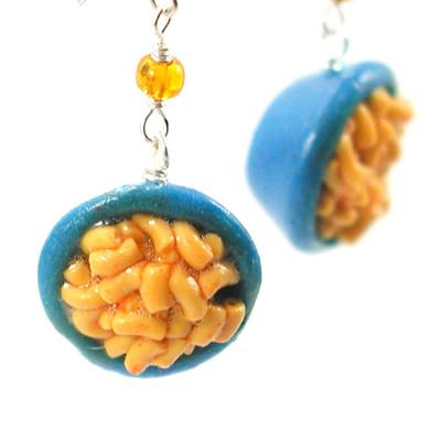 macaroni and cheese earrings by inedible jewelry