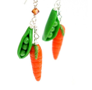 peas and carrots earrings by inedible jewelry