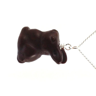 chocolate bunny necklace by inedible jewelry