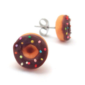 chocolate sprinkle donut studs
