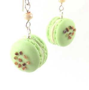 pistachio macaron earrings by inedible jewelry