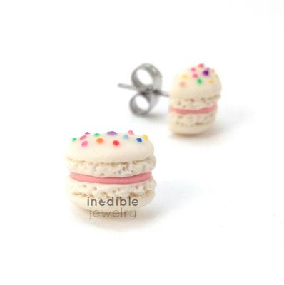 birthday macaron studs by inedible jewelry