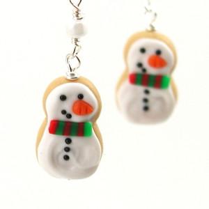snowman cookie earrings by inedible jewelry
