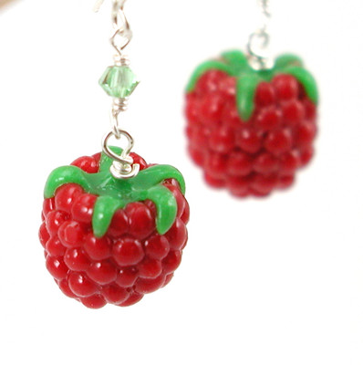 raspberry earrings by inedible jewelry