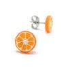 orange studs by inedible jewelry