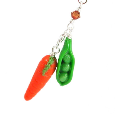 peas and carrot necklace by inedible jewelry