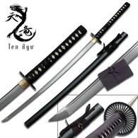 Ten Ryu HAND FORGED SAMURAI SWORD ( BLACK SPLATTER SCABBARD)