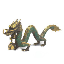 Vintage Style Brass Dragon with Ball - Small Size 20cm - Feng Shui