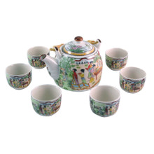 Chinese Tea Set - White Ceramic - Palace Garden Pattern - Gift Box