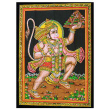 Indian Cotton Wall Art Print with Sequins - 77cm x 107cm - Hanuman