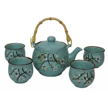 Chinese Tea Set - Duck Egg Blue Ceramic - Jasmine Blossom Pattern