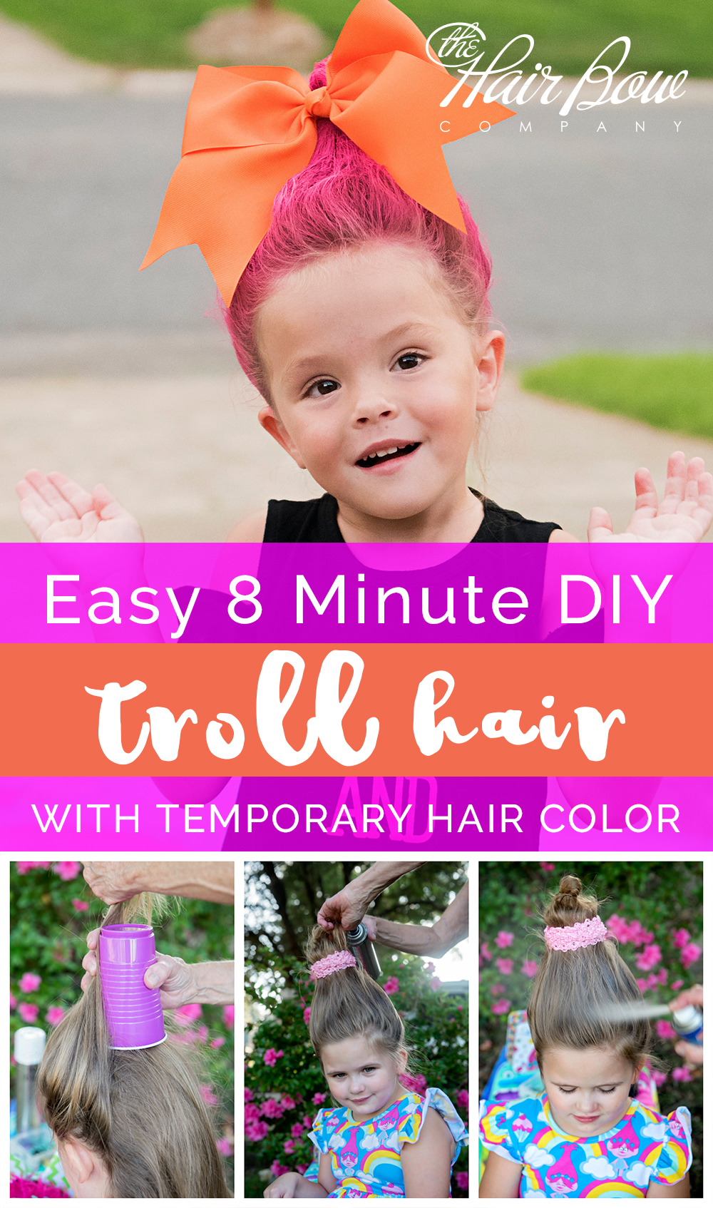 Easy DIY Troll Hair Style Tutorial by The Hair Bow Company  sc 1 st  The Hair Bow Company & DIY Troll Hair Styles with Temporary Color - The Hair Bow Company