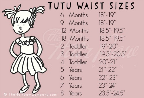 diy tutu waist size chart