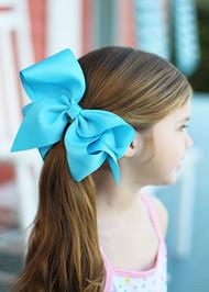 Turquoise Texas Size Grosgrain Hair Bow