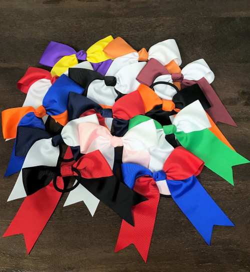 Two Tone School Color Cheer Bows with Elastic