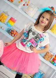 Neon pink tutu layered over turquoise tutu