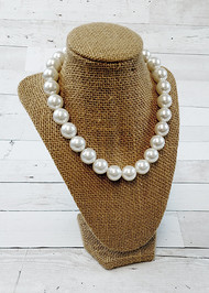 White chunky bead necklace for girls.