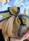 School Spirit Sequin Cheer Bow in Black and Gold